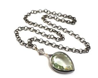 Green Prasiolite, Pink Tourmaline, 14K Gold & Sterling silver Heavy Chain Necklace - Bathylle Necklace