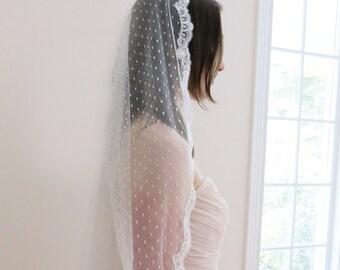 Polka Dot Veil- Cathedral Length Mantilla Veil- Bridal Veil- Spanish Lace Mantilla- Ivory Veil- Style: Sofia- Ready to Ship