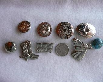 9 Western Motif Metal Button Caps