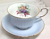 Paragon Teacup Fine Bone China Floral with Plums Berries Flowers - Dusty Blue - Made in England