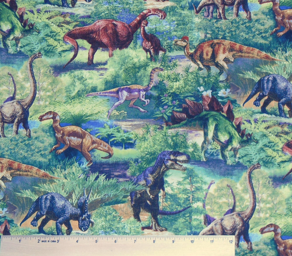 Usps dinosaur fabric by the yard retired by whatcamefirst for Dinosaur fabric