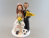 Bride & Groom Soccer Fans Customized Wedding Cake Topper