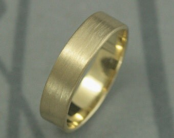 Men's Wedding Band--Modern Men's Band--Solid 10K Gold 5mm Flat Band--Pipe Edge Band--Men's Modern Wedding Band--Solid Gold--Handmade for YOU