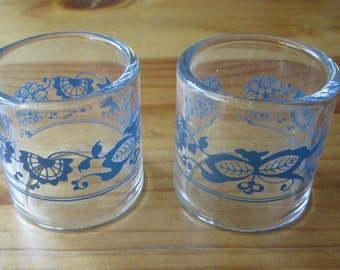 Vintage Pyrex Corelle Old Town Blue / Onion Glass Napkin Rings