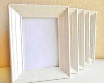 Set of Matching 5x7 Creamy White Wooden Picture Frames Wood 5 Five