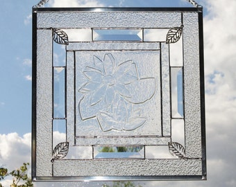 Clear Stained Glass Flower Panel  -  FREE Shipping & Insurance in the USA