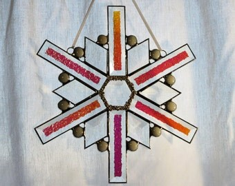 Stained Glass Snowflake Suncatcher Panel  -  FREE Shipping & insurance in the USA
