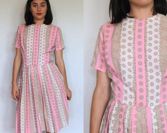 60's Pink and Taupe Pastel Shirtwaist Dress/ Small