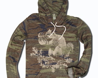 Womens Boxing SQUIRREL Alternative Apparel Lightweight Camo Eco Hoody S M L XL  (limited print run)