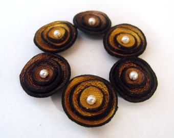 6 pcs TINY round findngs Jewelry supplies. Handmade leather flowers for crafts and jewelry making