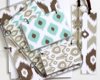 Three Ring Binder Gift Set, Khaki Ikat