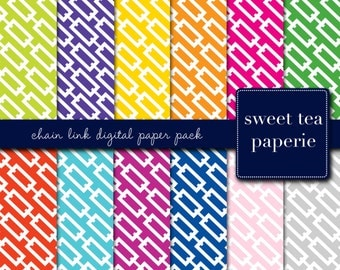 Buy2Get1Free with Code XMASINJULY! Chain Link Digital Paper Pack (Immediate Download)