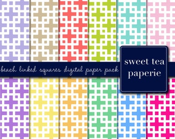 Palm Beach Linked Squares Digital Paper Pack (Immediate Download)
