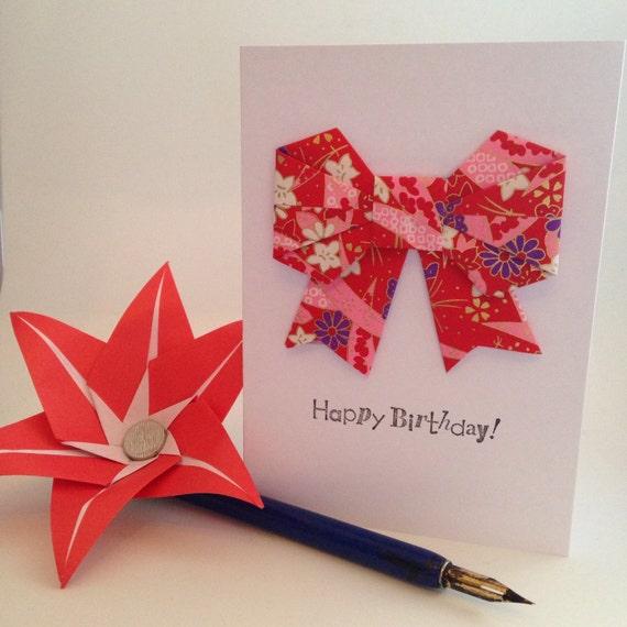 origami 'happy birthday' greeting card redlifesbigcanvas