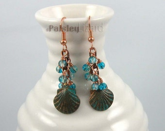 Scallop Shell Earrings, copper patina charms on antique copper finish chain with turquoise glass bead dangles, beach jewelry