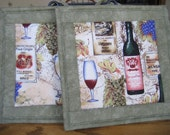 Quilted Pot Holders - Set of 2 with Wine Bottles and Glasses