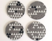 Wool Felt Triangle Coaster Set: Heather Grey Ground - White/Navy Print