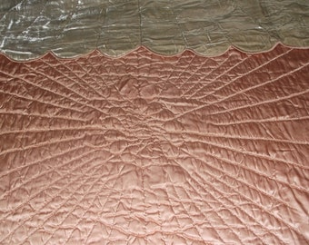 Vintage Satin and Velvet Sunburst Coverlet Hand Quilted by Ina