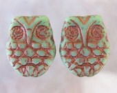18x15mm Opaque Light Green with Copper Wash Czech Glass Horned Owl Beads - Qty 6 (BS243)