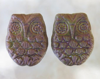 18x15mm Opaque Green with Purple Patina Czech Glass Horned Owl Beads - Qty 6 (BS241)