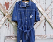 Rosie - vintage Mickey Mouse shorts overalls romper XL