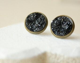 Black Druzy Stud Earrings or CLIP 12mm or 8mm Druzy Post earrings Black Moon Rocks lightweight Faux Geode Studs fake druzy earrings E273