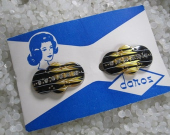 Vintage barrette with rhinestones hair barrette black and gold