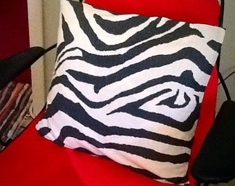 "Dramatic Black White Zebra Print Indoor Pillow Cover Envelope Style Fits 18x18"" pillow."