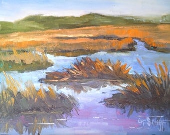 "Marsh Painting, Daily Painting, Small Oil Painting, ""Marshlands"", 6x8"" Oil"
