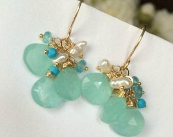 Aqua Dangle Earrings Wire Wrapped 14kt Gold Fill Aqua Chalcedony Turquoise Earrings Summer Fashion Mint Earrings