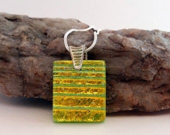 Dichroic Fused Glass Pendant Necklace - Gold & Green