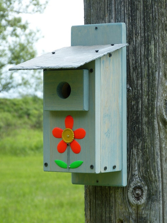 Rustic Outdoor Slate Roof Blue Bird House Birdhouse