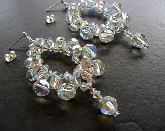 Wedding Earrings, Bridal Jewelry, Statement Earrings, Big Sparkly Earrings with Swarovski Crystal AB, Large Earrings, Bridesmaids Jewelry