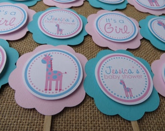 Giraffe Baby Shower Decorations, Giraffe Cupcake Toppers, Jungle Baby Shower Decorations, Customized