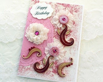 Personalized Birthday Card, Paper Quilling Graduation,40th,50,60th,80th,Mom,Daughter,Paper Quilled Keepsake,Floral Art,Ribbon Flower