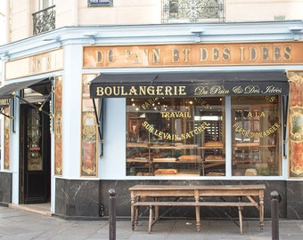 Paris Photography, Parisian Boulangerie, Paris, France, Paris bakery, baby blue, paris wall art, paris decor, rebecca plotnick