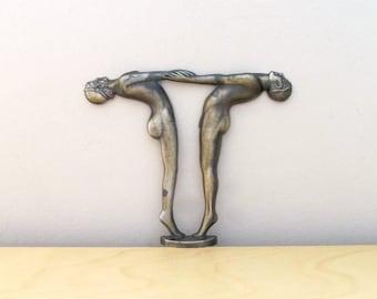art deco repro nude couple figural brass lamp base part L&L WMC - quantity one - altered art wedding decor