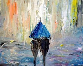 Original Painting, Rain Umbrella Couple Romance Painting, Canvas ready to ship