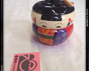 DEADSTOCK w/ original box circa 1950 Japanese Lacquered Kokeshi inspired Stackable Jewelry Box