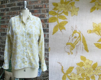 Sale 60s Horse Novelty Print Blouse by Lady Arrow - Yellow and White Long Sleeves - 1960ks Button-Down Oxford Shirt