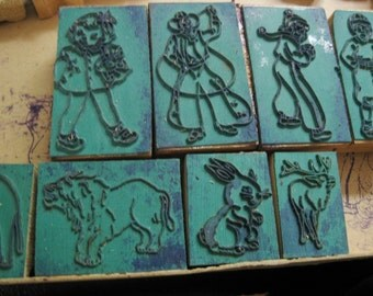 Vintage Picture Printing Set, Child's Printing Set, Animals, Letters, Numbers, People, Stamps