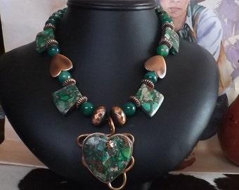 Southwest Romantic Heart and Sculptured Copper  Pendant Necklace