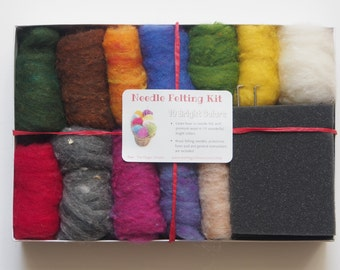 Needle Felting Kit Beginner - Wool - Starter Kit - Tools Needles - DIY Craft Kit - Felt Tutorial - DIY Home Decor
