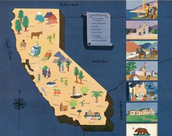 VIntage Pictorial Map of California 1939 World's Fair