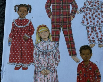 Butterick B5586 Children's/Girls/Boy's Nightgown, Pajama Top and Pants in sizes 7-8-10 (uncut