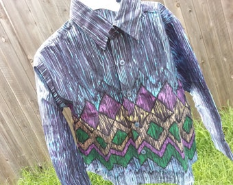 Toddler Boys Long Sleeve, Ethnic Indian Cotton Button Down Shirt - Father Son Matching - Purple Blue Rain - Stormy 3091