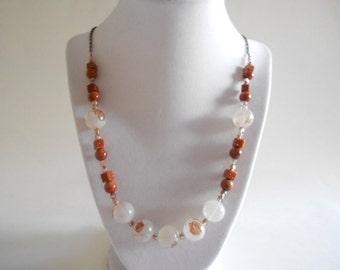 Copper Goldstone Necklace Czech Copper Beads Brown Necklace Goldstone Necklace Copper Necklace Long Necklace
