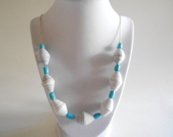 White Beads Necklace Blue Beads Necklace Paper Beads Necklace White Necklace Blue Necklace Dyed Turquoise Beads Silver Tone Chain