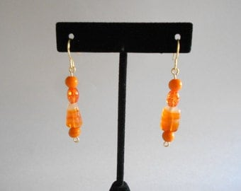 Orange Earrings Glass Beads Orange Glass Beads Orange Beads Dangle Earrings Pierced Earrings Gold Tone Findings