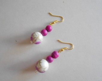 Pink Beads Earrings White Beads Earrings Pierced Earrings Pink Earrings White Earrings Dangle Earrings Glass Beads Earrings